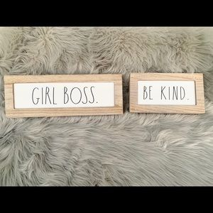 Rae Dunn Girl Boss and Be Kind signs